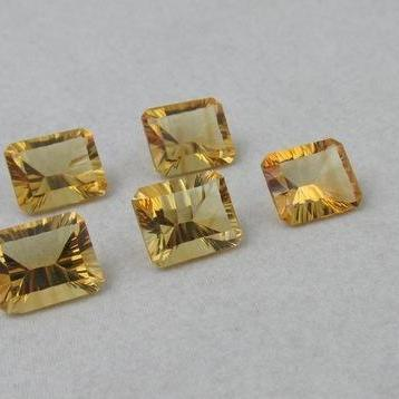 8x6mm Natural Citrine Concave Cut Octagon 2 Piece (1 Pair) Calibrated Size Top Quality yellow Color Loose Gemstone