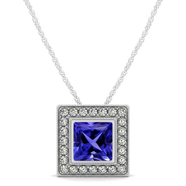 925 Sterling Silver Pendant With Genuine Natural Tanzanite 6mm Square Cut And White Topaz Gemstone Pendan