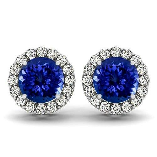 925 Sterling Silver Earring Genuine Natural Tanzanite 5mm Round Cut with White Topaz Round Gemstone – Tanznaite Eariiing