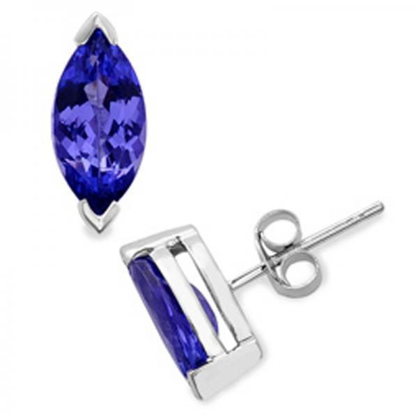 925 Sterling Silver Stud Earring Genuine Natural Tanzanite 2x4mm Marquise Cut AAA Color Tanznaite Gemstone Eariiing