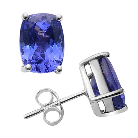 925 Sterling Silver Stud Earring Genuine Natural Tanzanite 4x6mm Round Cut AAA Color Tanznaite Gemstone Eariiing