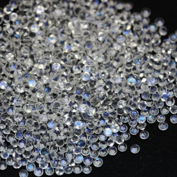 Natural Rainbow Moonstone 1.5mm 25 Pieces Lot Faceted Cut Round Top Quality Blue Power - Loose Gemstone