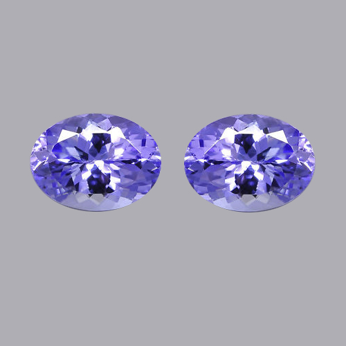Natural Tanzanite 7x9mm 2 Pieces Faceted Cut Oval Top Quality A Color - Loose Gemstone