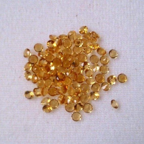 Natural Citrine - 2.5 mm 50 Pieces Lot Calibrated Size Faceted Cut Round Yellow Color - Natural Loose Gemstone