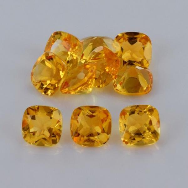 Natural Citrine - 5mm 100 Pieces Lot Calibrated Size Faceted Cut Cushion Yellow Color - Natural Loose Gemstone