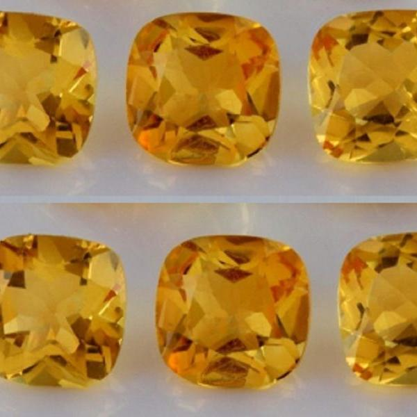 Natural Citrine - 6mm 5 Pieces Lot Calibrated Size Faceted Cut Cushion Yellow Color - Natural Loose Gemstone