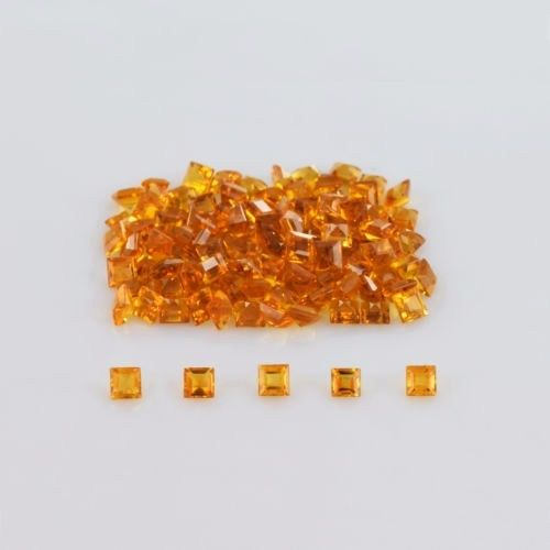 Natural Citrine - 4mm 5 Pieces Lot Calibrated Size Faceted Cut Square Yellow Color - Natural Loose Gemstone