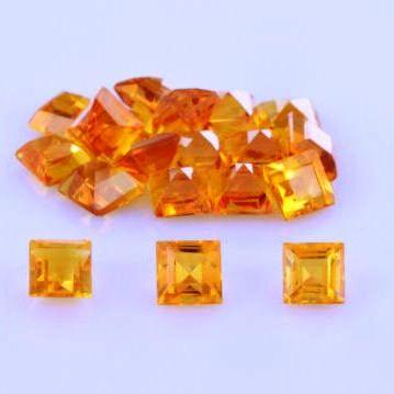 Natural Citrine - 6mm 100 Pieces Lot Calibrated Size Faceted Cut Square Yellow Color - Natural Loose Gemstone