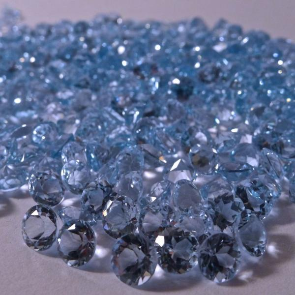 Natural Sky Blue Topaz 3mm 200 Pieces Lot Faceted Cut Round Blue Color - Natural Loose Gemstone