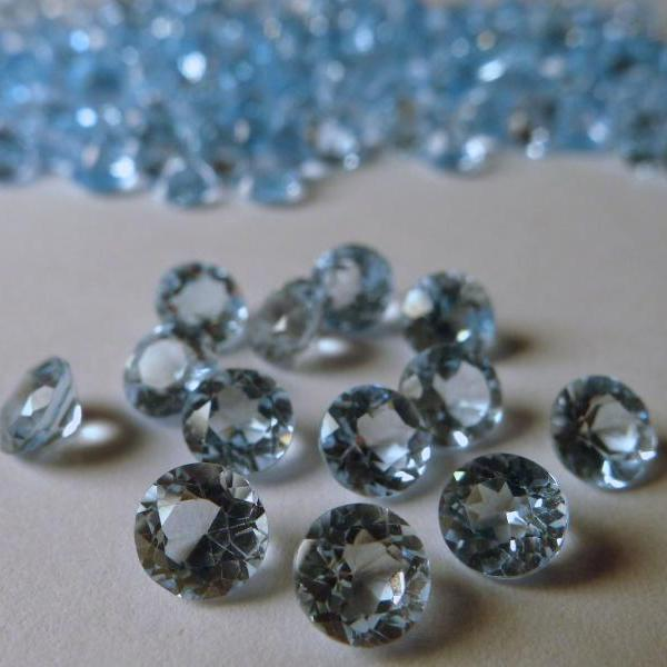 Natural Sky Blue Topaz 4mm 50 Pieces Lot Faceted Cut Round Blue Color - Natural Loose Gemstone