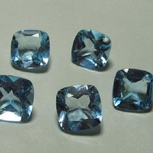 Natural Sky Blue Topaz 4mm 25 Pieces Lot Faceted Cut Cushion Blue Color - Natural Loose Gemstone