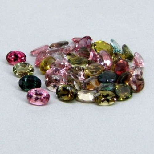 Natural Multi Tourmaline 5x3mm 25 Pieces Lot Faceted Cut Oval Multi Color - Natural Loose Gemstone