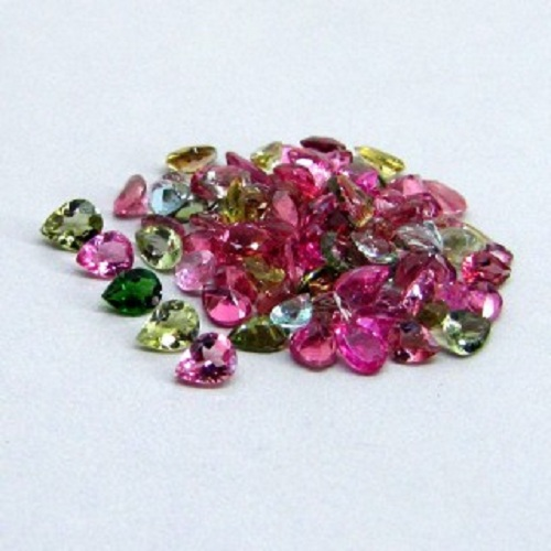 Natural Multi Tourmaline 5x3mm 50 Pieces Lot Faceted Cut Pear Multi Color - Natural Loose Gemstone