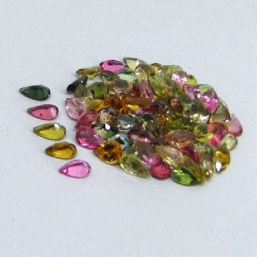 Natural Multi Tourmaline 5x3mm 100 Pieces Lot Faceted Cut Pear Multi Color - Natural Loose Gemstone