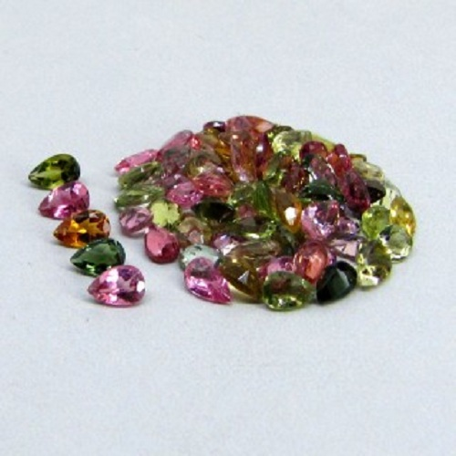 Natural Multi Tourmaline 5x4mm 100 Pieces Lot Faceted Cut Pear Multi Color - Natural Loose Gemstone