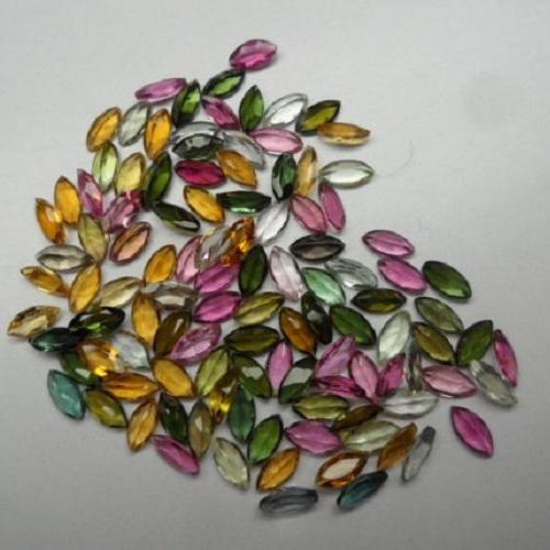 Natural Multi Tourmaline 6x3mm 50 Pieces Lot Faceted Cut Marquise Multi Color - Natural Loose Gemstone