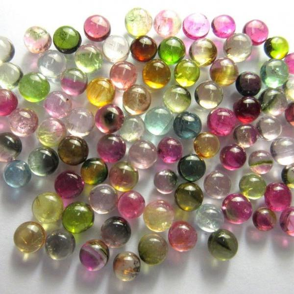 Natural Multi Tourmaline 3mm 10 Pieces Lot Cabochon Round Multi Color - Natural Loose Gemstone