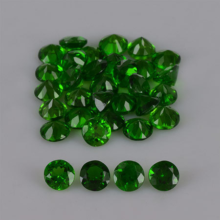 Natural Chrome Diopside 5mm 25 Pieces Lot Faceted Cut Round Green Color - Natural Loose Gemstone