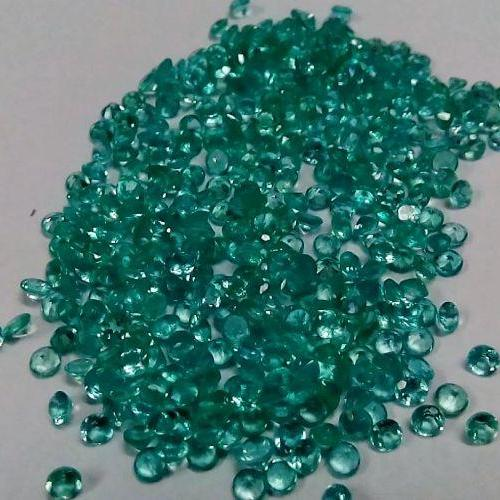 Natural Apatite 2mm 25 Pieces Lot Faceted Cut Round Greenish Blue Color - Natural Loose Gemstone