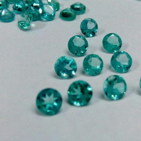 Natural Apatite 5mm 25 Pieces Lot Faceted Cut Round Greenish Blue Color - Natural Loose Gemstone