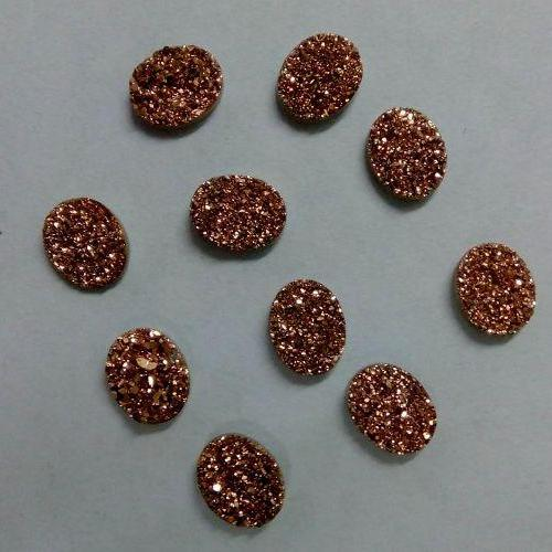 Natural 10x12mm 10 Pieces Rose Gold Color Coating Flat Druzy Oval Best Top Rose Gold Color Gemstone Lot