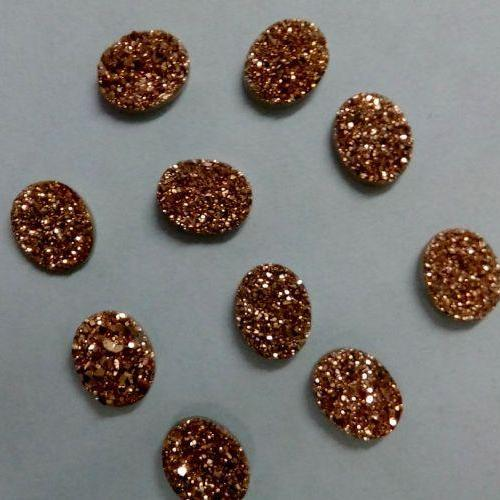 Natural 10x12mm 50 Pieces Rose Gold Color Coating Flat Druzy Oval Best Top Rose Gold Color Gemstone Lot