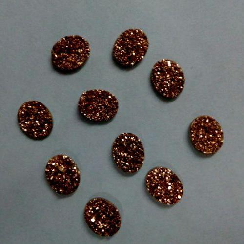 Natural 10x12mm 100 Pieces Rose Gold Color Coating Flat Druzy Oval Best Top Rose Gold Color Gemstone Lot