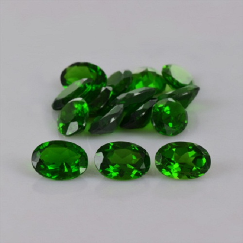Natural Chrome Diopside 7x5mm 50 Pieces Lot Faceted Cut Round Green Color - Natural Loose Gemstone