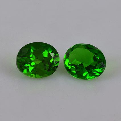 Natural Chrome Diopside 6x8mm 5 Pieces Lot Faceted Cut Round Green Color - Natural Loose Gemstone