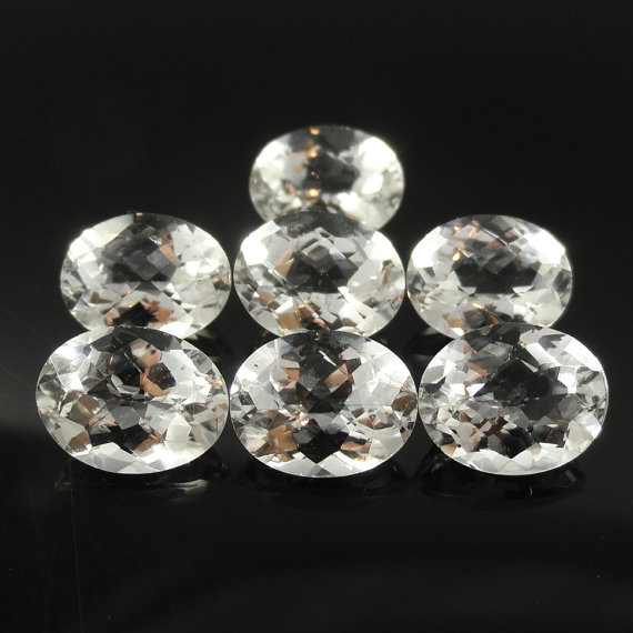 Natural White Topaz Calibrated Size 8x6mm 25 Pieces Lot Faceted Cut Oval Natural - Loose Gemstone