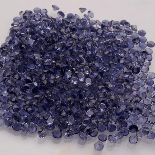 Natural Iolite 2mm 5 Pieces Lot Faceted Cut Round Blue Color - Natural Loose Gemstone