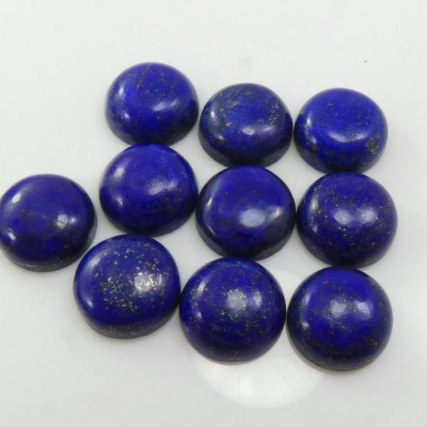 14mm Natural Lapis Lazuli - Cabochon Cut Round 10 Pieces Top Quality Blue Color - Loose Gemstone Wholesale Lot For Sale