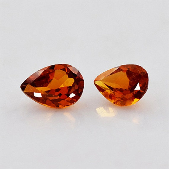 6x8mm Natural Hessonite Garnet - Faceted Cut Pear 2 Pieces Top Quality Brown Red Color - Loose Gemstone Wholesale Lot For Sale