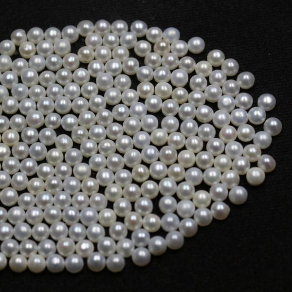 5mm Natural Fresh Water White Pearl - Half Cut cabochon Round 75 Pieces Top Quality White Pearl - Loose Gemstone Wholesale Lot For Sale