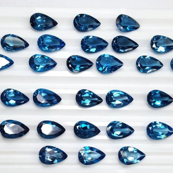 5x3mm Natural London Blue Topaz Faceted Cut Pear 100 Pieces Top Quality Blue Color - Loose Gemstone Wholesale Lot For Sale