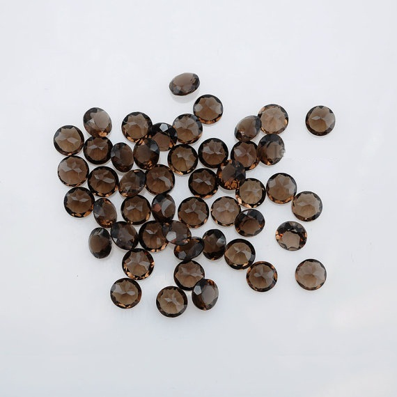 Natural Smoky Quartz 2.5mm Faceted Cut Round 100 Pieces Lot Brown Color Top Quality - Natural Loose Gemstone Wholesale Lot For Sale