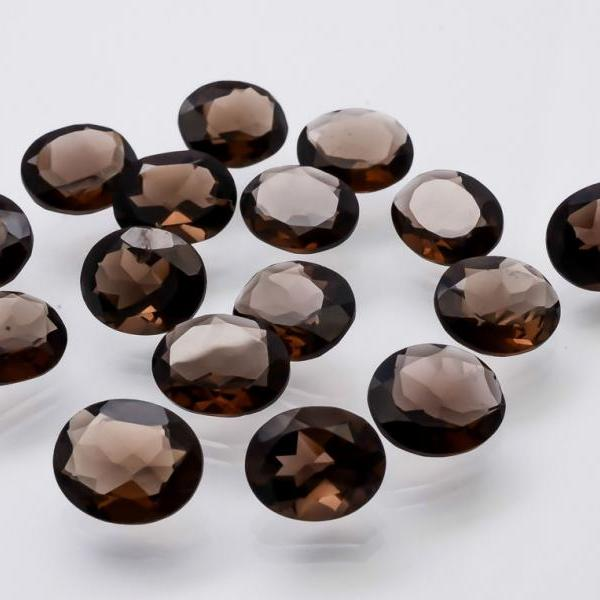 Natural Smoky Quartz 8x10mm Faceted Cut Oval 25 Pieces Lot Brown Color Top Quality - Natural Loose Gemstone Wholesale Lot For Sale