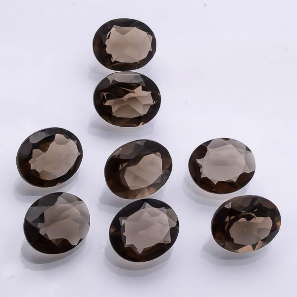 Natural Smoky Quartz 9x11mm Faceted Cut Oval 2 Pieces Lot Brown Color Top Quality - Natural Loose Gemstone Wholesale Lot For Sale