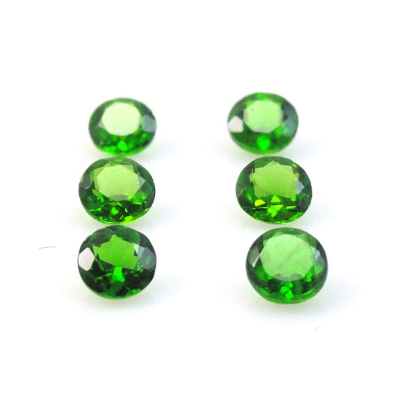 Natural Chrome Diopside- 6mm 5 Pieces Lot Faceted Round Calibrated Size Green Color - Loose Gemstone