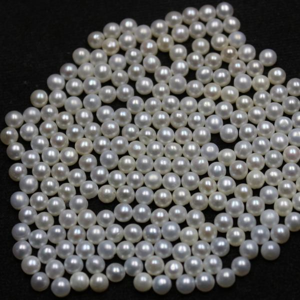 5mm Natural Fresh Water White Pearl - Half Cut Flat Back Cabochon Round 200 Pieces Top Quality White Pearl - Loose Gemstone Wholesale Lot For Sale