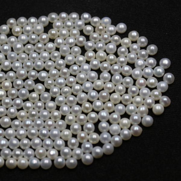 6mm Natural Fresh Water White Pearl - Half Cut Flat Back Cabochon Round 50 Pieces Top Quality White Pearl - Loose Gemstone Wholesale Lot For Sale