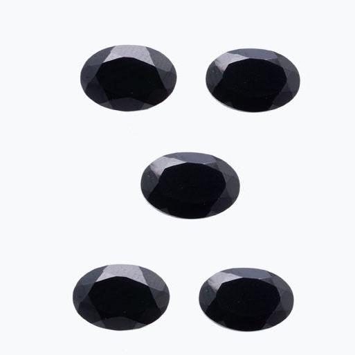 8x6mm Natural Black Spinel Faceted Cut Oval 5 Pieces Lot Top Quality Black Color Loose Gemstone Wholesale Lot For Sale