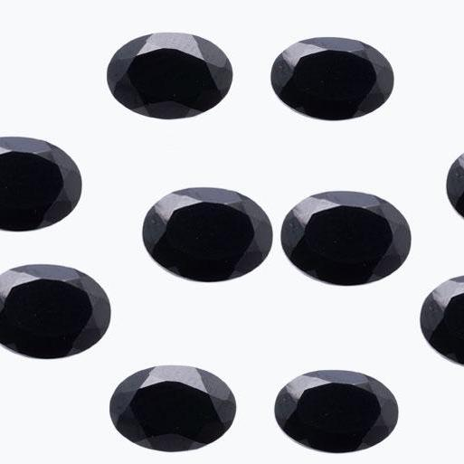 12x10mm Natural Black Spinel Faceted Cut Oval 5 Pieces Lot Top Quality Black Color Loose Gemstone Wholesale Lot For Sale
