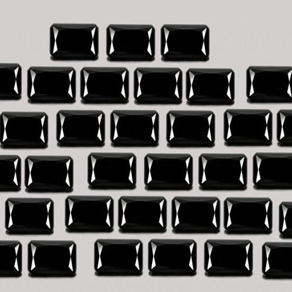 4x6mm Natural Black Spinel Faceted Cut Octagan 10 Pieces Lot Top Quality Black Color Loose Gemstone Wholesale Lot For Sale