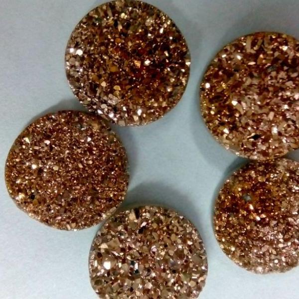 14mm Natural Rose Gold Color Coating Flat Druzy 100 Pieces Lot Round Best Top Rose Gold Color Loose Gemstone Wholesale Lot For Sale