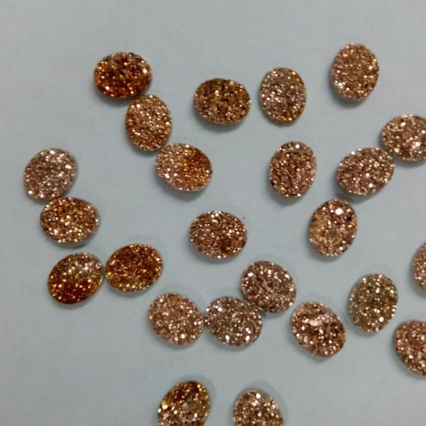 7x9mm Natural Rose Gold Color Coating Flat Druzy 10 Pieces Lot Oval Best Top Rose Gold Color Loose Gemstone Wholesale Lot For Sale