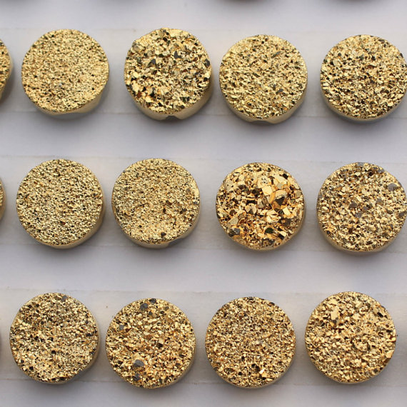 10mm Natural Gold Druzy Color Coating Flat Druzy 25 Pieces Round Best Top Gold Druzy Color Loose Gemstone Wholesale Lot For Sale