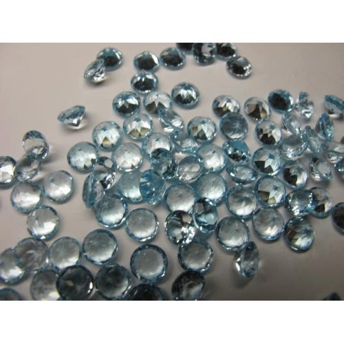 Natural Sky Blue Topaz 3mm 50 Pieces Lot Faceted Cut Round Blue Color - Natural Loose Gemstone