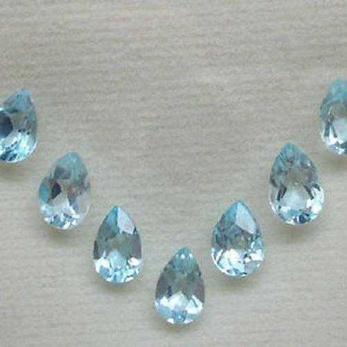 Natural Sky Blue Topaz 7x10mm 25 Pieces Lot Faceted Cut Pear Blue Color - Natural Loose Gemstone